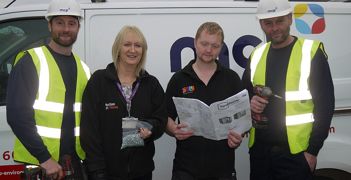 L-R: MCP Operative Shaun Manning, Bolton at Home-Sustaining Tenancy Advisor, Geraldine Pawson, Jake Gethin, Start with You, Handyperson, MCP Operative, Dave Duckworth